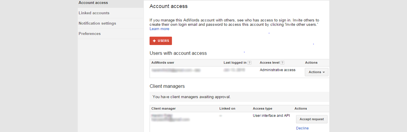 Adwords Permission Access to MCC