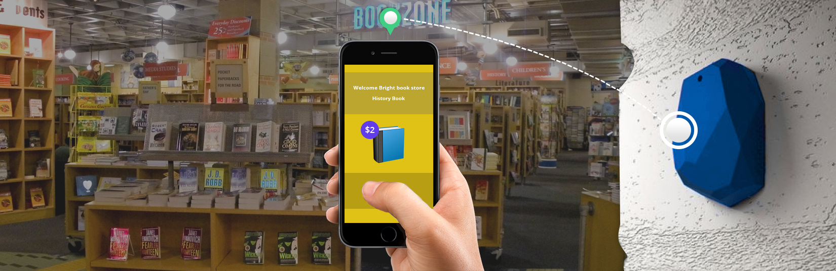 bookstore-Using-beacon-students