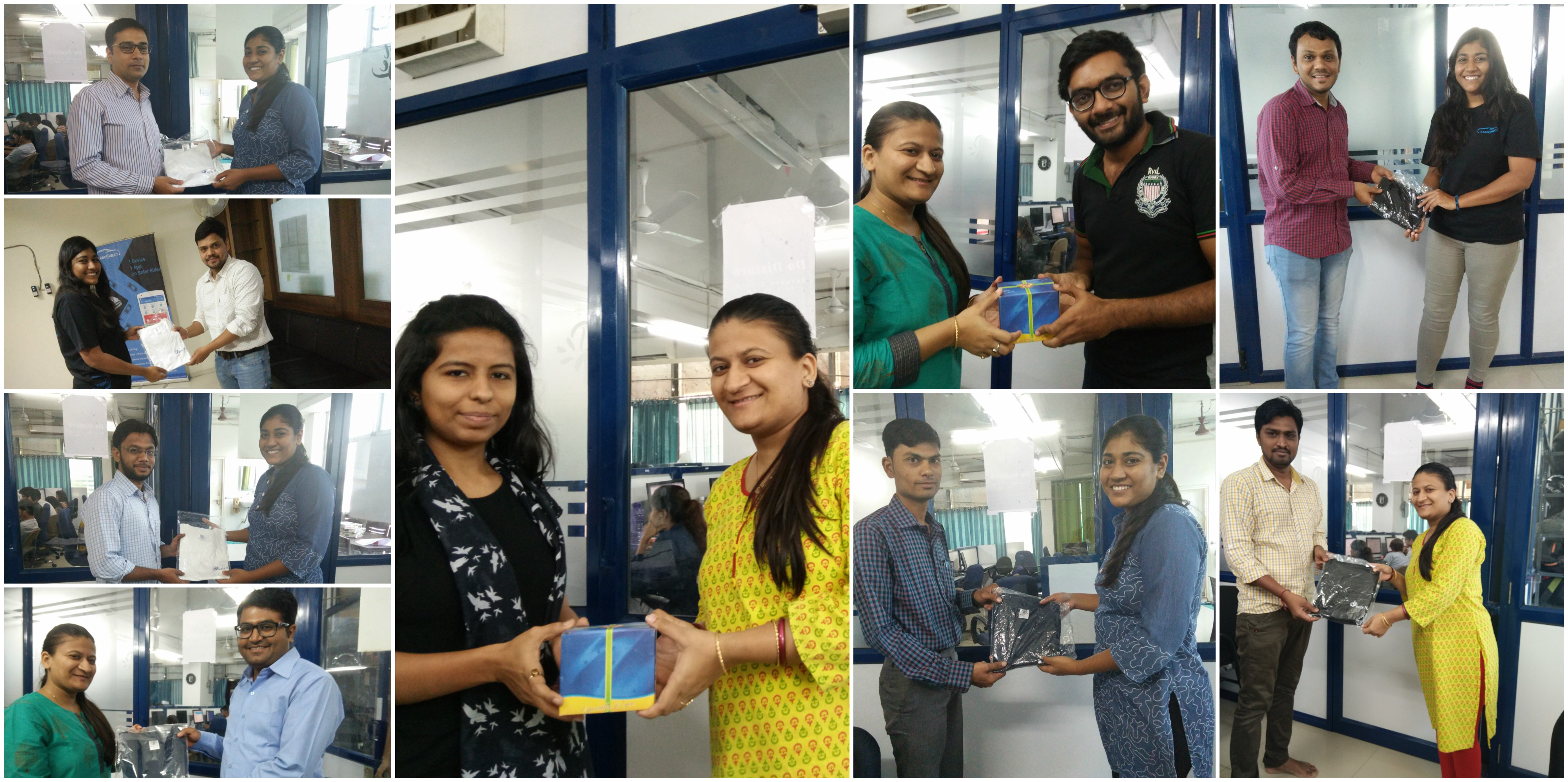 Employees receiving Birthday Gifts