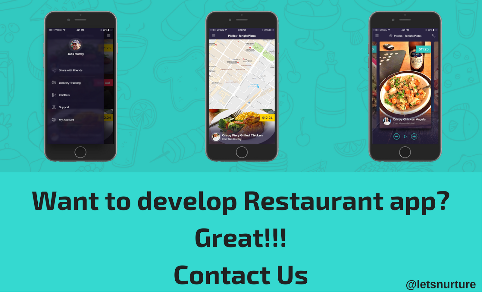 Contact LetsNurture for Custom Restaurant Mobile app development